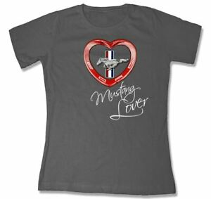 Red Heart Mustang Lover Scoop T-Shirt - Charcoal * Last Ones! * Free US Shipping