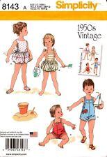 Simplicity Sewing Pattern 8143 1950s Vintage Babies Set Playsuits XXS-L