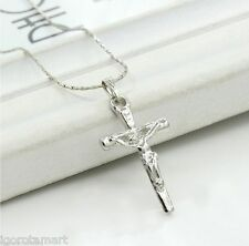 SINGLE FASHION SILVER CROSS PENDANT NECKLACE CHAIN CRUCIFIX JEWELLERY