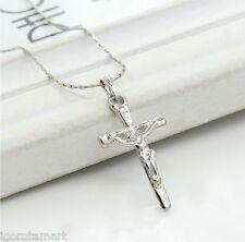 Único Fashion Plateado Cruz Colgante Collar Cadena Crucifijo Joyas