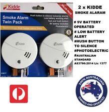 2x Smoke Alarm Fire Detector Australian Standard Bonus 9V Duracell Battery 85db
