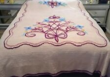 "Vintage Floral Chenille Bedspread Excellent Condition Queen/Full Size 92""x102"""