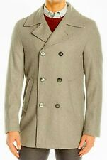 New Mens Calvin Klein Light Gray Wool Blend Muzio Classic Peacoat Coat 48L