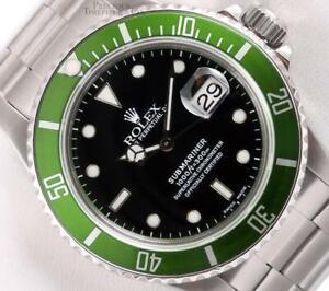 Rolex Submariner Date 16610 S/Steel Custom Green Bezel Black Dial 40mm Watch
