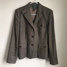 Dated Ralph Lauren Blazer Jacket Taupe Linen Pockets GUC Womens 10 Medium
