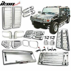 Fit 06-09 Hummer H2 ABS Chrome Cover Trim Door Handle Tail Light Hood Vent 36PCS