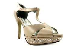Style&Co. Women's Suki Open-Toe Platform Pumps Champagne Satin Size 8 M