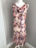 Country Casuals Dress Size 10 Petite Silk Lined Floral Print Cow Neck Cruise Hol