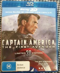 CAPTAIN AMERICA THE FIRST AVENGER 3D LTD ED + BLU-RAY + DVD (3 Disc Set) Rare