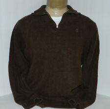POLO RALPH LAUREN 1/2 ZIP FRONT PULLOVER SWEATER SIZE LARGE 100% COTTON BROWN