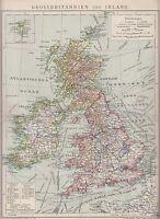 1890 UK GREAT BRITAIN & IRELAND  Antique Map