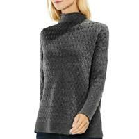 Vince Camuto Womens Gray Cable Knit Casual Pullover Sweater Top XL BHFO 2339