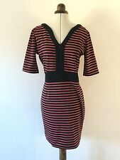 BOOHOO Coral And Black Stripe Stretch Shift Dress Zip Detail Size 12