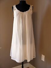 Chiffon over Nylon Babydoll Nightgown   Floral Lace Shoulder Straps