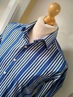 ⭐⭐⭐⭐⭐ John Francomb T.M. Lewin Shirt Mens Size XL 16.5 Collar Blue White Cotton