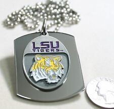 LSU  X LARGE  DOG TAG STAINLESS STEEL NECKLACE LOGO FREE ENGRAVE