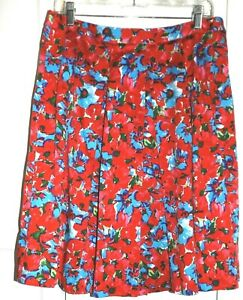 Talbots Petites 12P red floral print lined back zip box pleat skirt business
