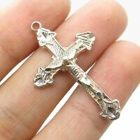Vtg 925 Sterling Silver  Religious Crucifix Cross Charm Pendant