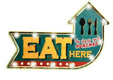 Eat Here Sign w/ LED Lights Retro Marquee Metal Arrow Shaped man cave den