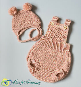 Hand Knitted Baby Girl Romper and Bonnet Set Knit To Order