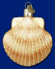 Scallop Shell Old World Christmas Glass Nautical Beach Ocean Ornament Nwt 12179
