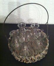 Flaschenvasen*Weidenkorb*Shabby*Vintage*Impressionen*Landhaus*Glas*Vasen-Set