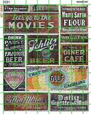 1031 DAVE'S DECALS HO 1:87 SCALE GHOST SIGNS OLD BUILDINGS GAS MOVIES BEER
