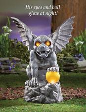 Mythical Gargoyle with Solar Lighted Eyes & Globe Halloween Garden Statue