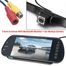 "7"" MP5 Bluetooth Car Rearview Mirror Monitor+12 LEDs Night Vision Backup Camera"