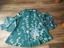 Ted Baker shicago Verde Floral Vestido Talla 3/UK12