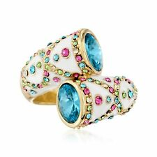 Multicolored Crystal and White Enamel Bypass Ring