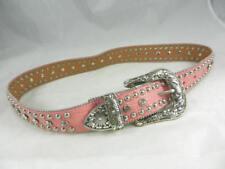 Fantastic Nocona  Studded Rhinestone  Pink Gator Embossed Leather Belt  Size M