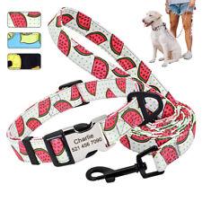 Personalised Dog Collar and Lead set Adjustable Nylon ID Collar Free Engraved