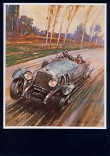 MOUNTED PRINT by GORDON CROSBY 'Racing Car' ARTIST. Free UK Postage (1036)