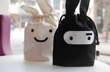 2pc Set Cute Ninja Rabbit Black & White Drawstring Bag Lunch Tote Purse Wallet