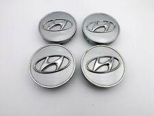 "Hyundai Silver Wheel Center Cap Set X4 Tucson Veracruz 07-12 Genuine OEM 2 3/8"""