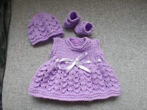 """hand knitted dolls outfit dress hat and shoes fits 10"""" -12"""" doll"""