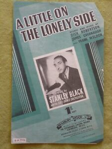 VINTAGE ORIGINAL SHEET MUSIC /(7) / a LITTLE ON THE LONELY SIDE