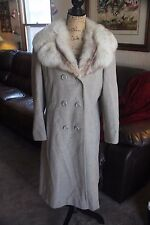 VINTAGE WOOL FOX SAGA BLUE GRAY WOMEN LONG COAT JACKET TRENCH SZ MED? PEA WINTER