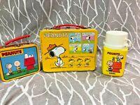 VINTAGE THERMOS PEANUTS METAL LUNCH BOX /THERMOS & extra mini Box