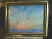 "ORIGINAL ART OIL PAINTING ON CANVAS HAWAIIAN SUNSET 16X20"" N NADZO FRAMED"