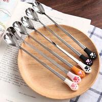 Kitchen Tableware Stainless Steel Coffee Spoon Cute Cat Claw Fruit Flatware