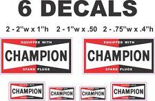 6 Champion Spark Plug Vinyl Decals
