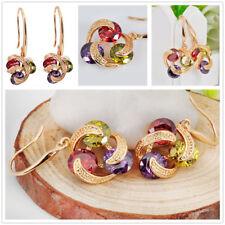 Women's Ruby/Peridot/Amethyst Drop/Dangle 10KT Yellow Gold Filled Hook Earrings