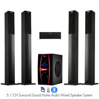Frisby 5.1 Channel Home Theater Tower Speaker System Package w/ Bluetooth USB/SD