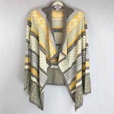 OLIVER Striped Open Cardigan Sweater Medium Tribal Gold Metallic Gray Taupe Soft