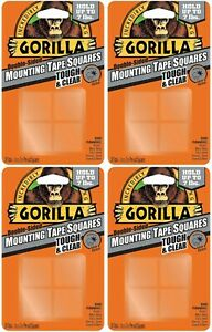 """4 Packs Gorilla Tough & Clear Double-Sided Mounting Tape 1"""" Squares Permanent"""