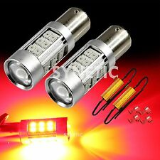 2x 1157 High Power 2835 Chip Red Turn Signals 27-LED Light Bulbs + 2 Resistors