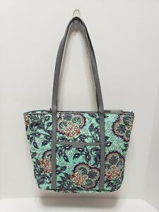 Vera Bradley Quilted Fan Flowers Small Trimmed Vera Tote Bag