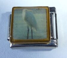 HERON / CRANE Italian Charm - White Bird fits ALL 9mm Classic Starter Bracelets